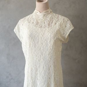 Ivory Lace High Neck Wedding Dress with Cape